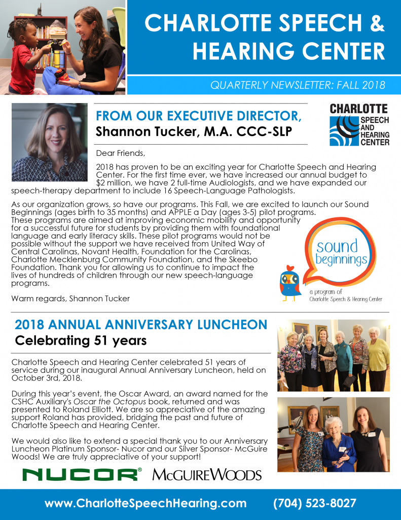 2018 Fall Quarterly Newsletter for Charlotte Speech and Hearing Center- page 1